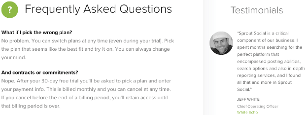 Pricing Page FAQ After
