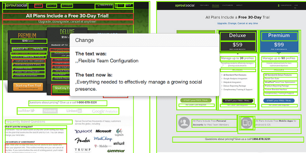 Comparing Changes in Website Copy