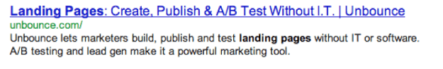 Unbounce's well written meta description prior to an accidental change