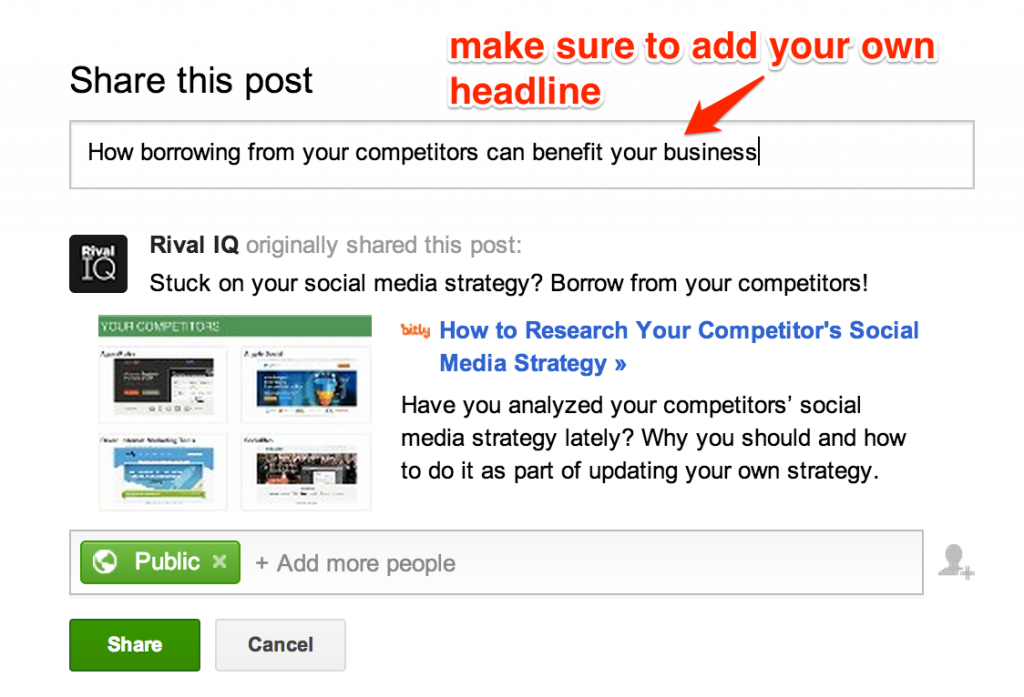 Be sure to personalize the shared post by adding your own title.