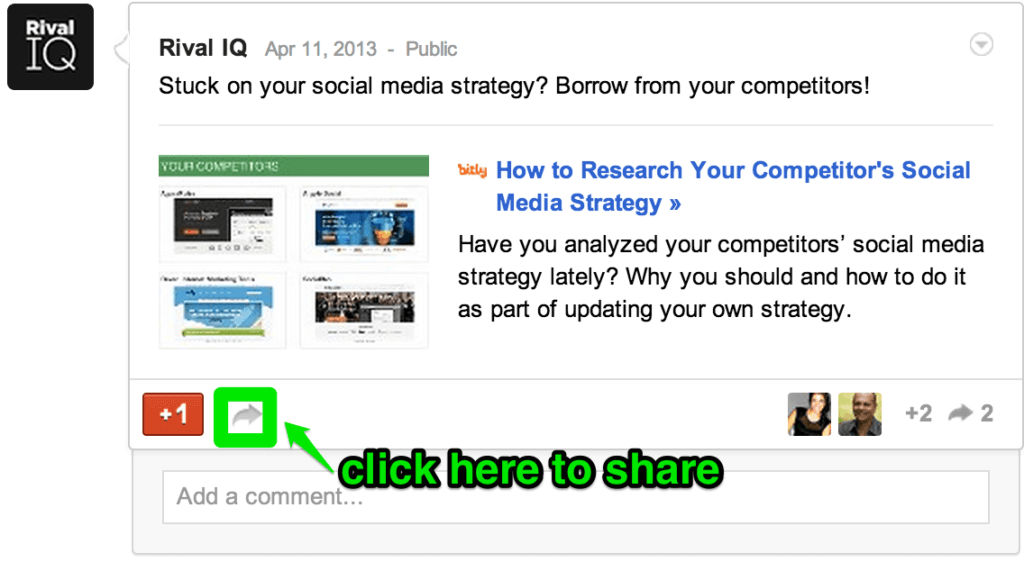 """Go to your company's Google+ brand page and click on the arrow botton at the bottom of a post to """"reshare"""" it."""