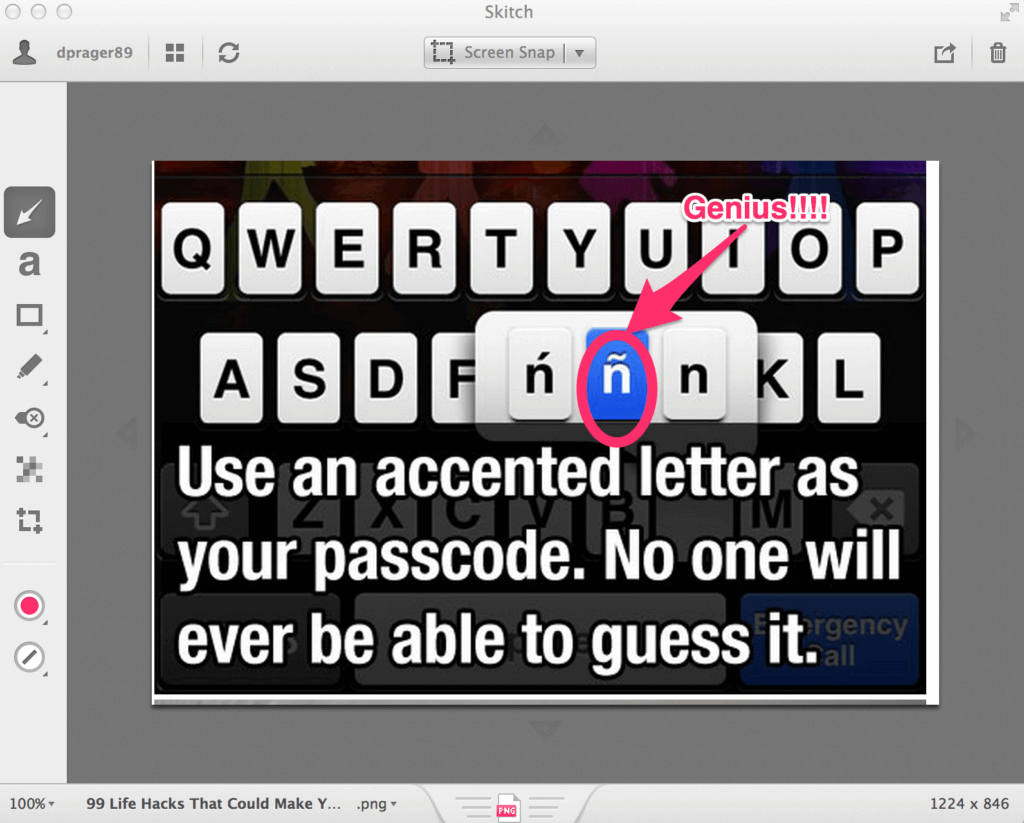 An example of Skitch at work. Skitch allows you to get your message across quickly and in fewer words.