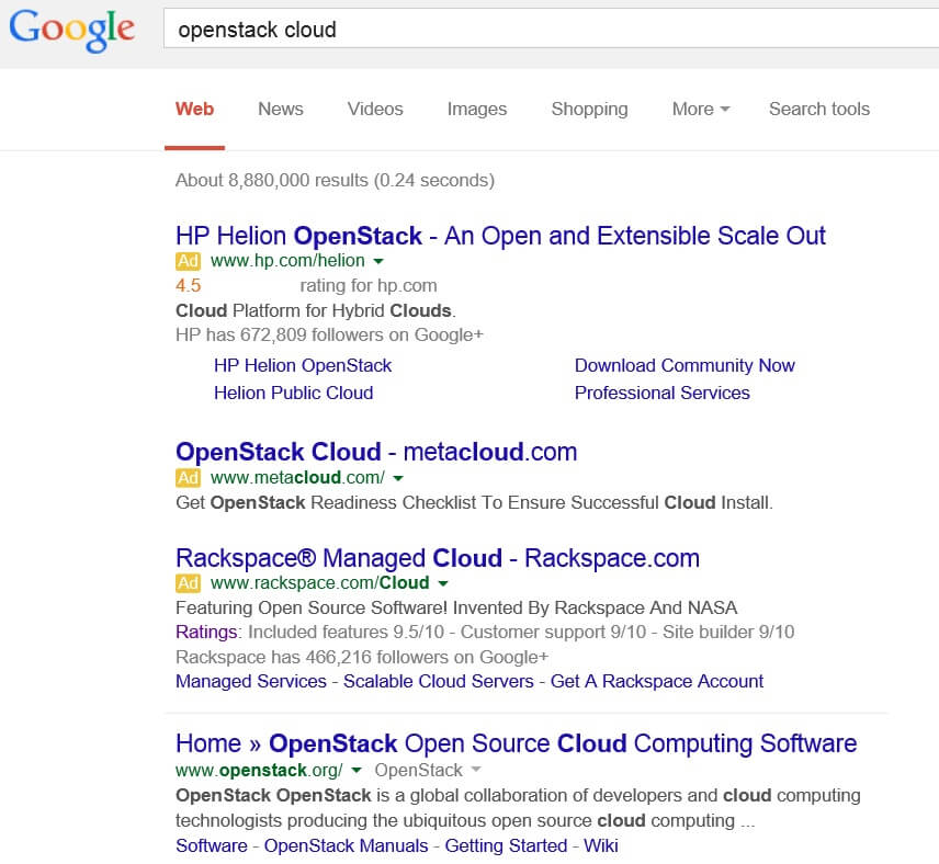 OpenStack Cloud Google Search Results