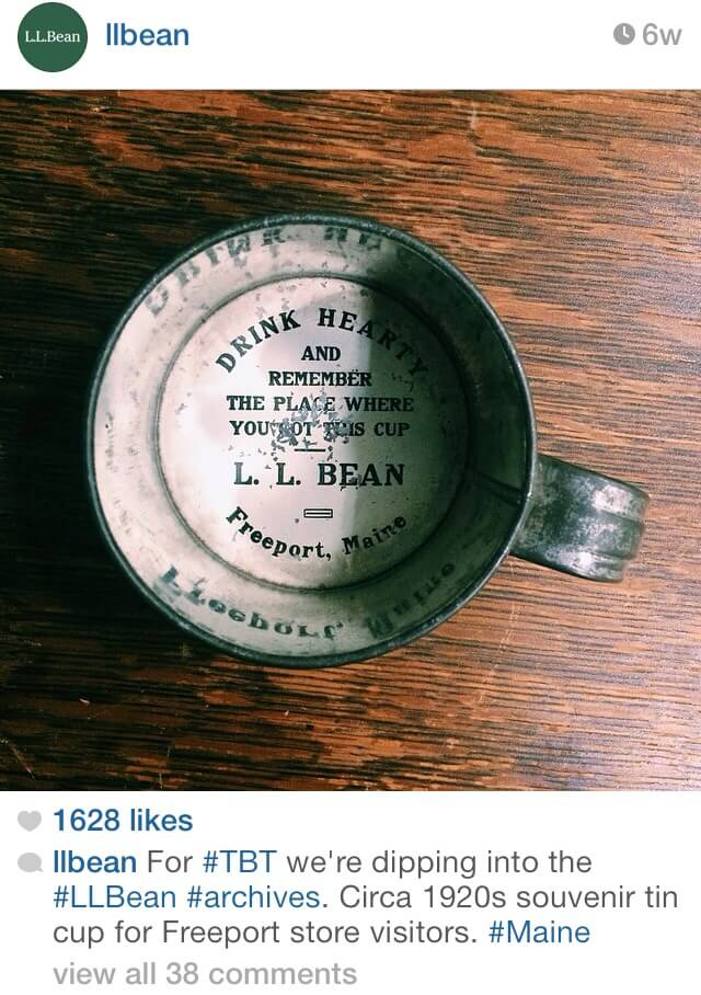LL Bean souvenir tin cup from the 1920s.