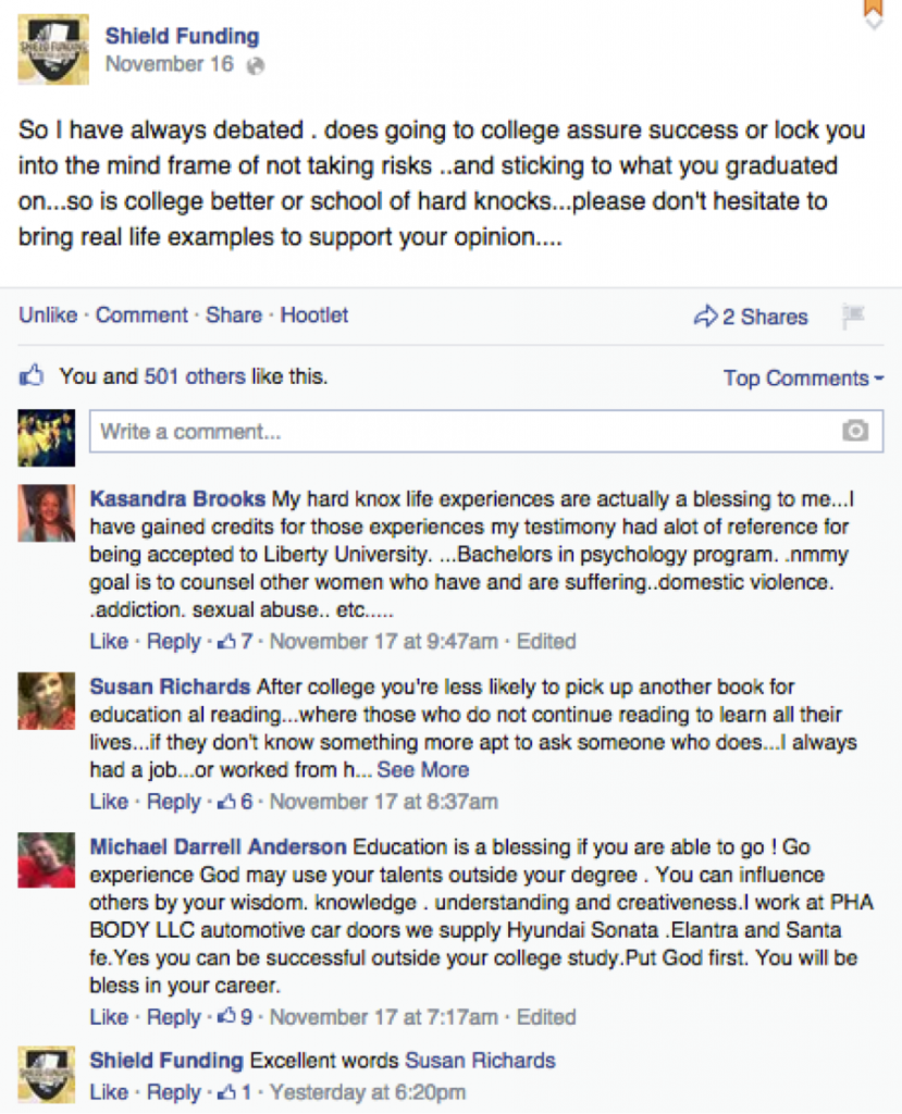 Shield Funding Facebook Posts