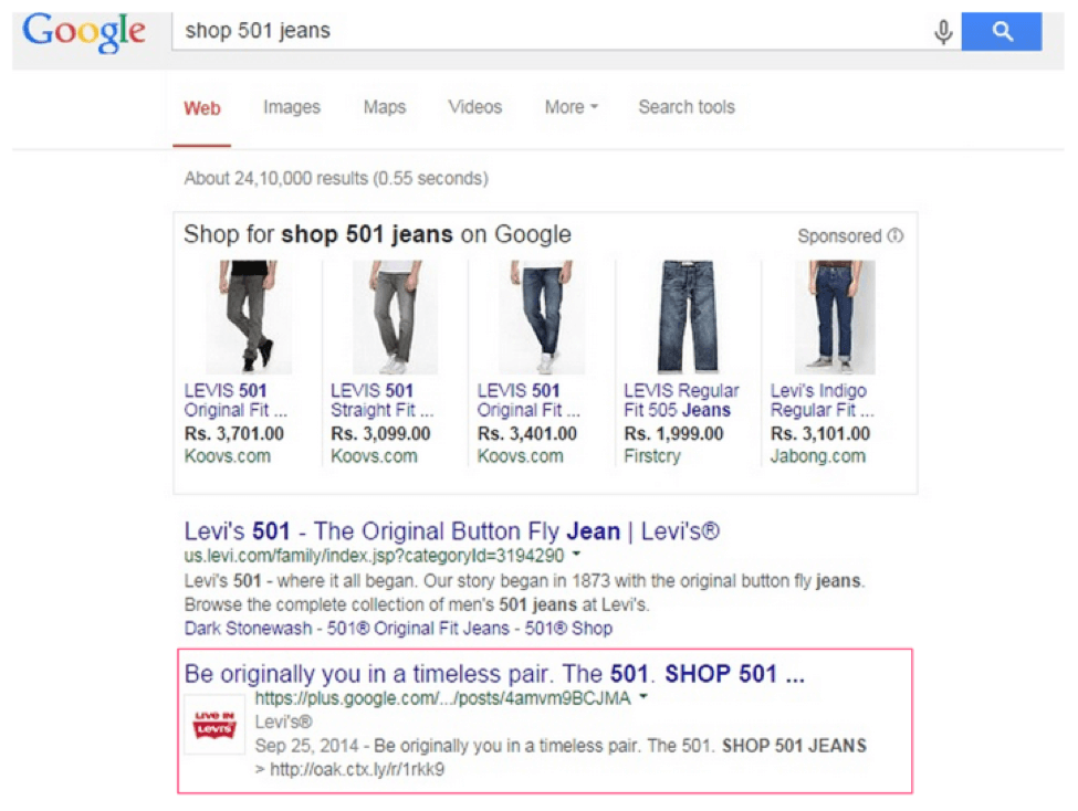 Google Company Page Jeans search results
