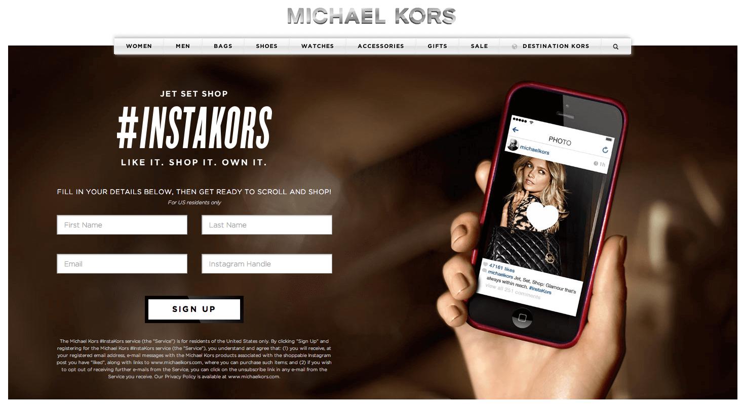 Michael Kors Instagram Shoppable