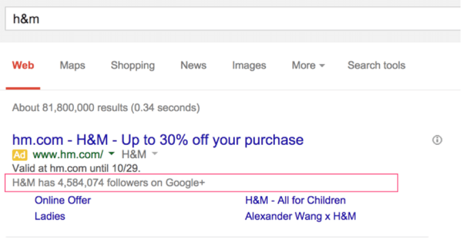 H&M Google Company Page search results