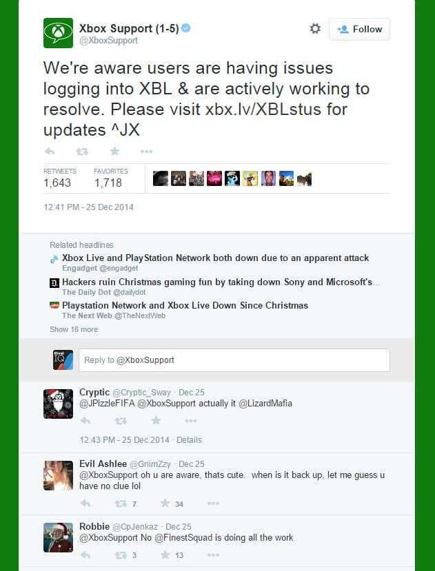 Xbox support twitter page