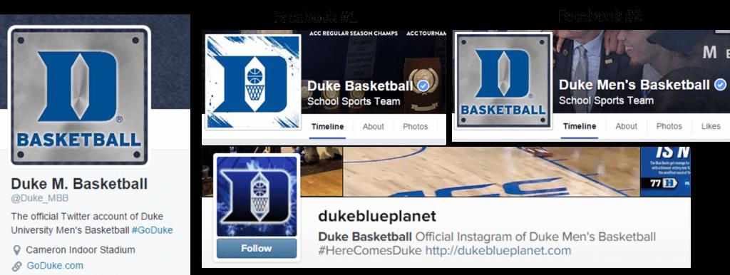 Duke Men's Basketball Social Media Profiles
