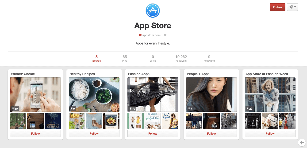 Apple's Pinterest Brand Message