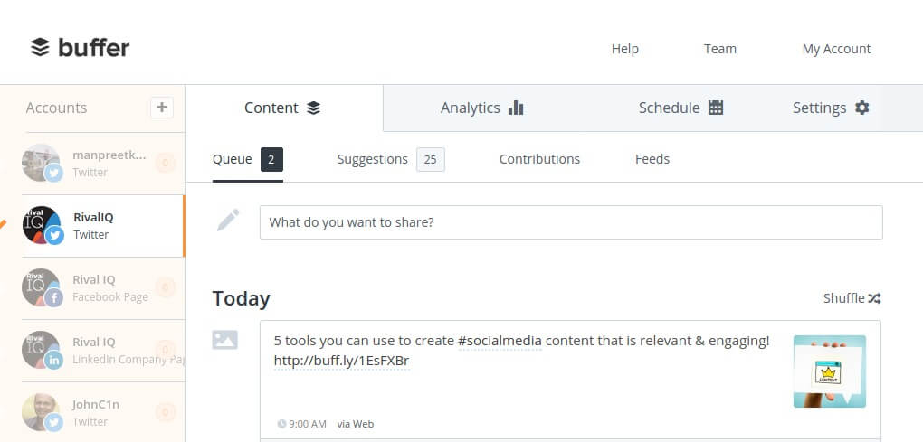 Buffer social publishing
