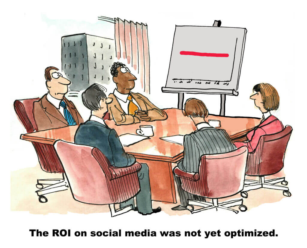social media ROI cartoon