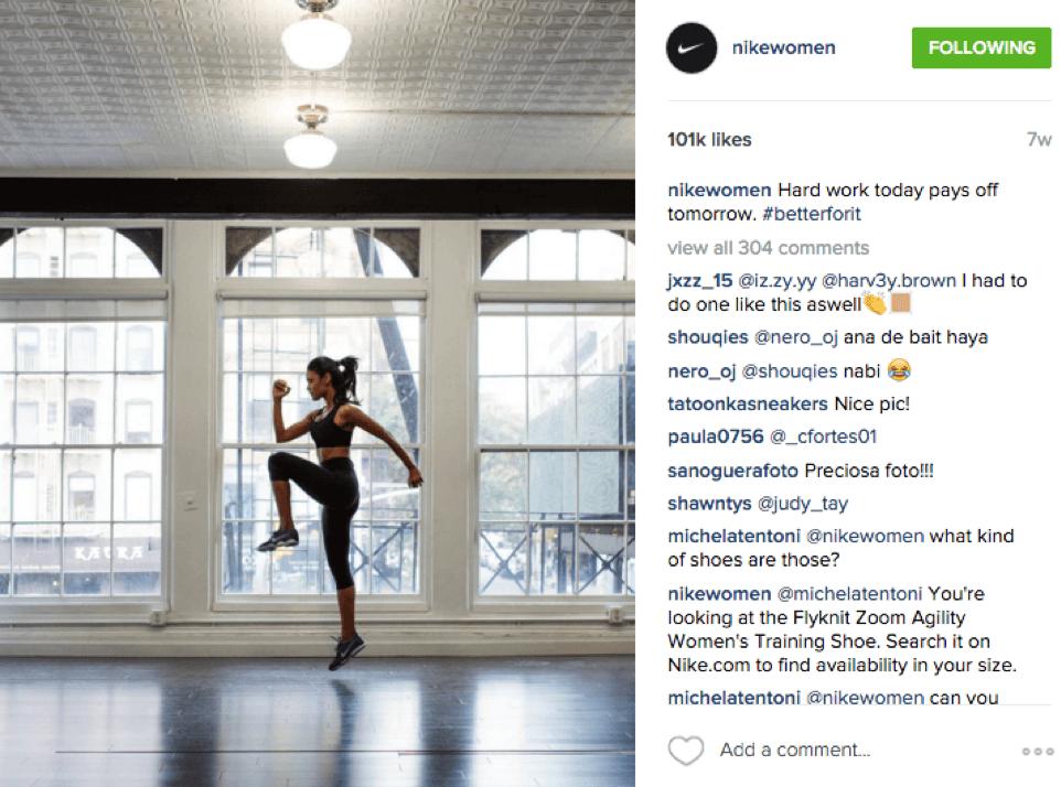 Nike Women Social Media Lessons