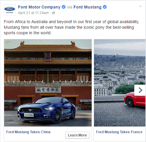 Facebook Carousel Ads by Ford