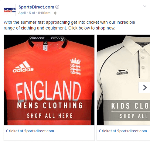 Facebook Carousel Ads Cricket