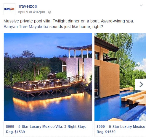 Facebook Carousel Ads Travelzoo