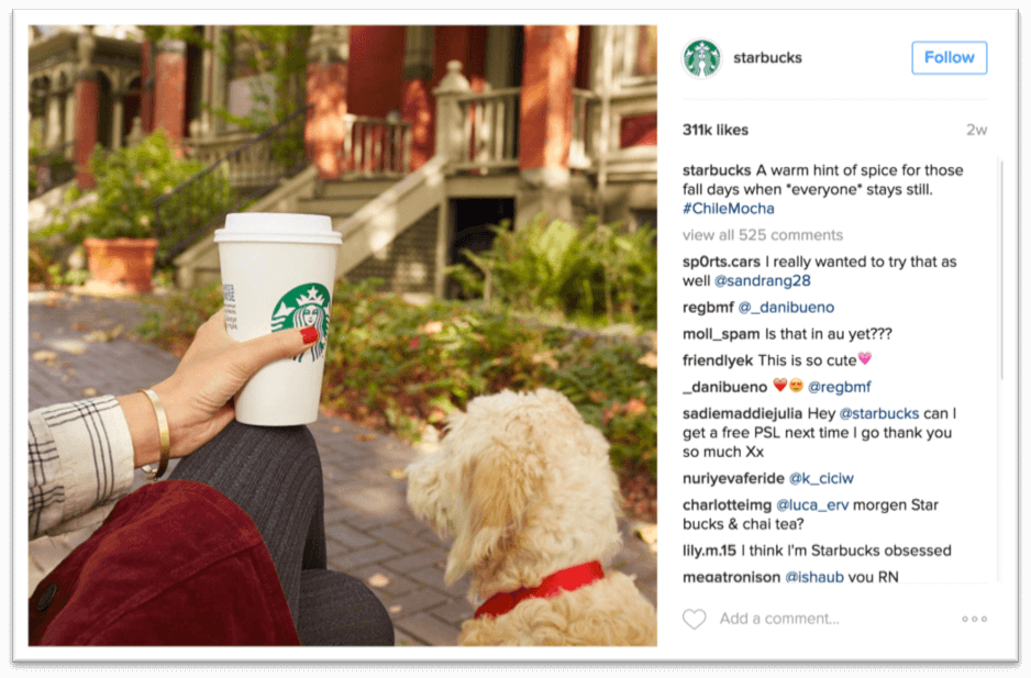 Starbucks aspirational instagram post