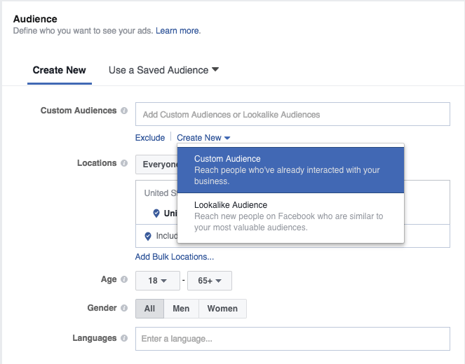 Facebook custom audience step 1: Create a new custom audience