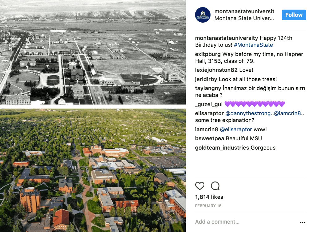 MSU Showing what campus looks like now and then on social media