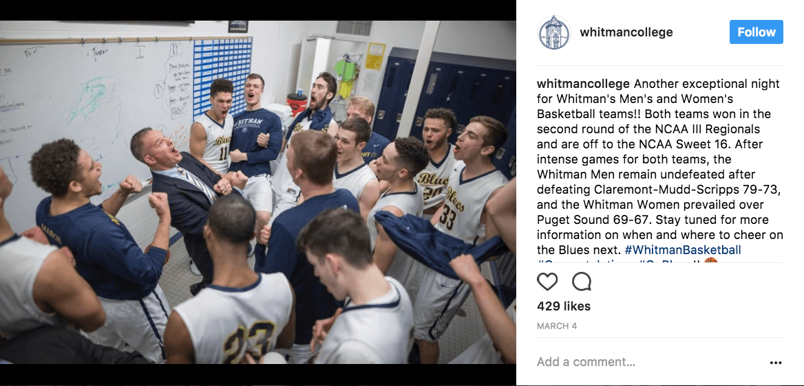 Whitman college giving their fans on social media what they want - backstage access at the 2017 NCAA Men's Basketball Tournament