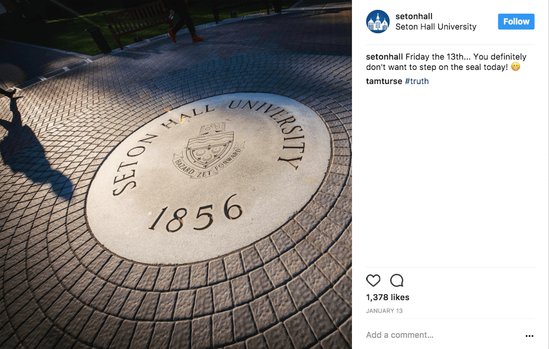 Seton Hall exemplifying showing off college and university traditions on social media