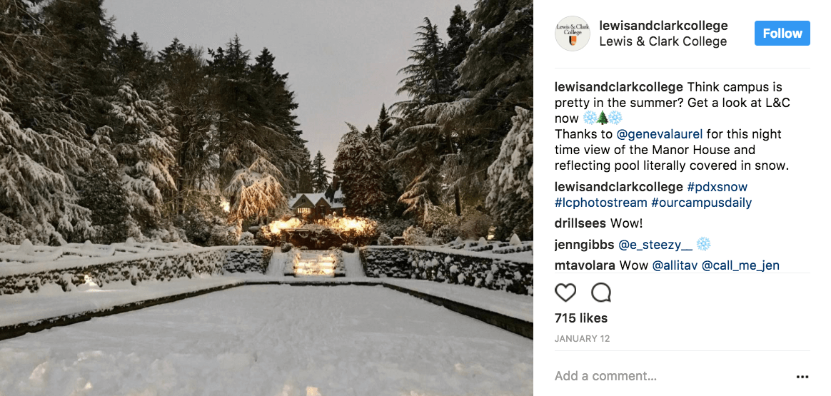 Lewis and Clark college showing off their beautiful winter campus on their Instagram account.