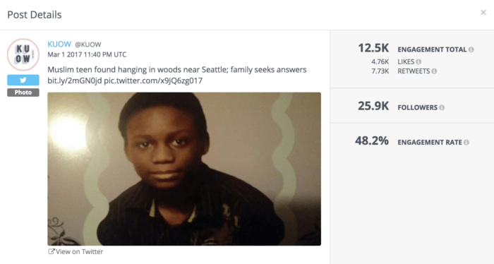 Example of a KUOW post that performed above average. This post focused on the death of a young teen. The metrics shown include engagement rate, engagement total and a breakout of those numbers.