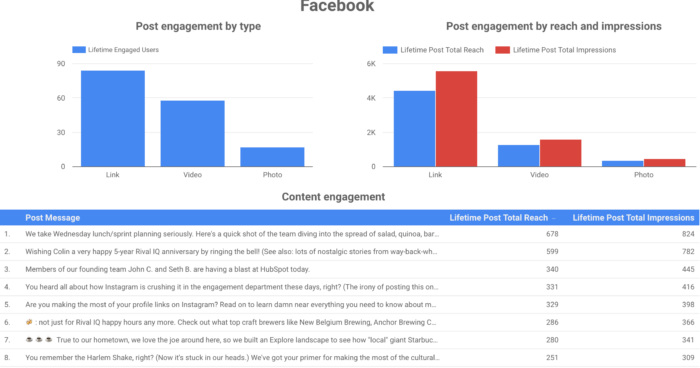 Sample social media analytics dashboard featuring bar graphs of Facebook post engagement by type and by reach/impressions.