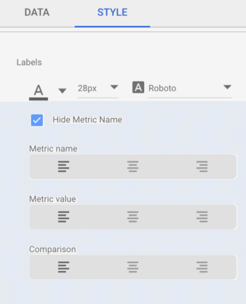 Manipulating your titles in Google Data Studio with fonts, labels, and centering.