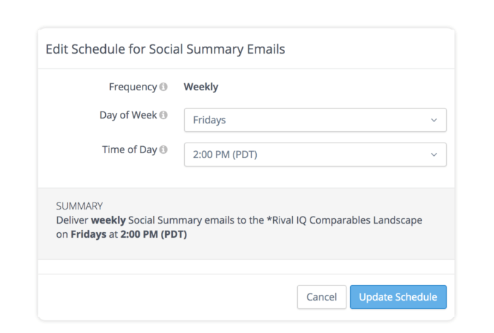 configure your schedule for updates