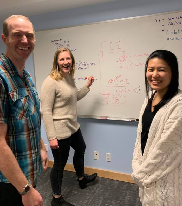 Three Rival IQ employees standing in front of a whiteboard as part of a staged job interview.