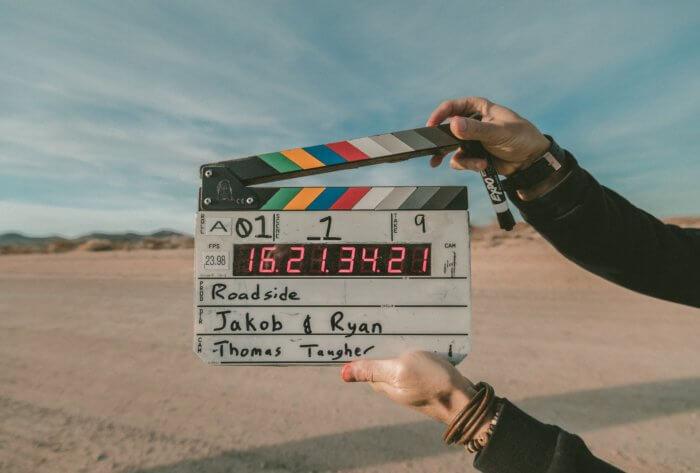 Movie clapper in the desert