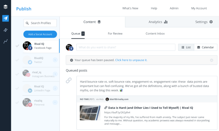 Dashboard in Buffer, our favorite low-cost social media management tool