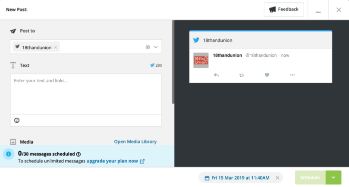 Hootsuite's post preview screen