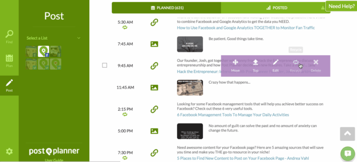 Post Planner's social media management dashboard