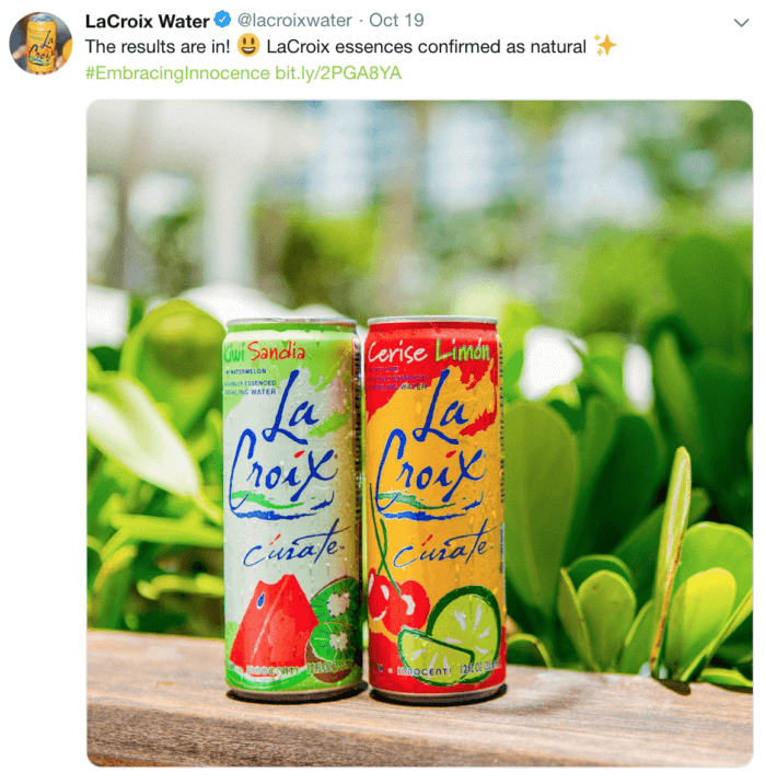 Tweet from LaCroix featuring two cans of LaCroix against grass