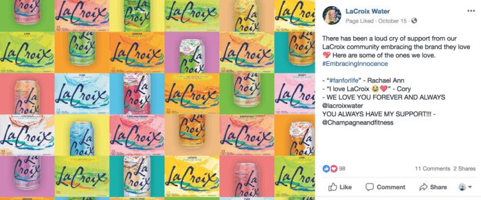 Instagram post from LaCroix during a recent PR crisis