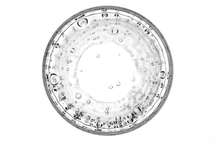 Looking down into a glass of sparkling water