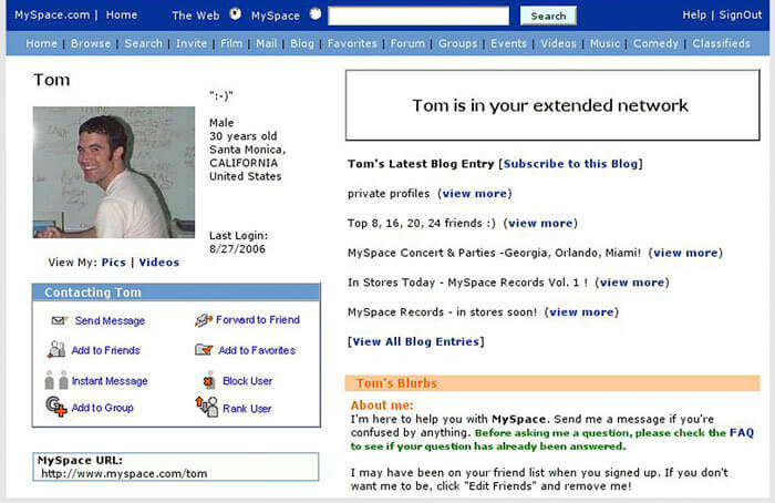 Tom's sample MySpace profile–never miss out on your MySpace analytics again