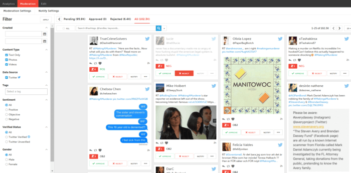Zoomph's social media analytics tool has many ways to segment your data, by gender, tag, content type, and more