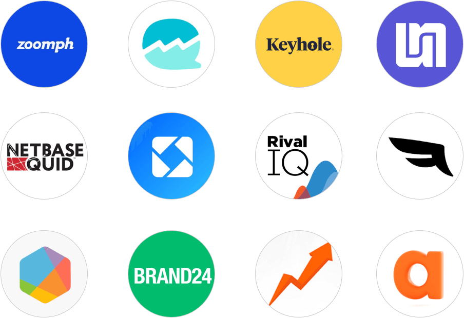 Social Media Analytics Tool logos including Agorapulse Brand24 BrandWatch Falcon.io Iconosquare Keyhole Netbase Quintly Rival IQ SoTrender UnMetric Zoomph