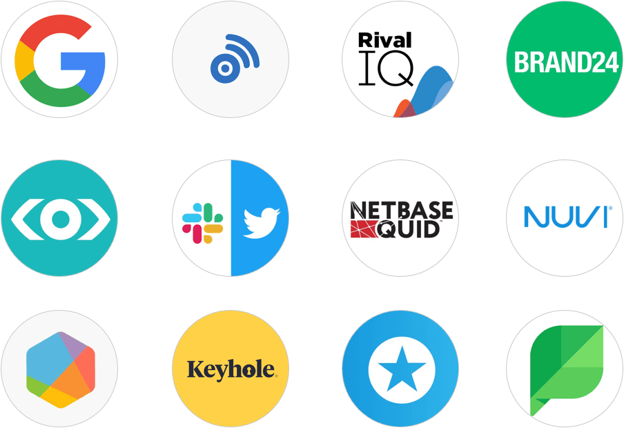 social media listening tools logos Brand24 BrandWatch BuzzSumo Google Alerts Keyhole Meltwater Mention Nuvi Rival IQ Slack+Twitter Sprinklr Sprout Social