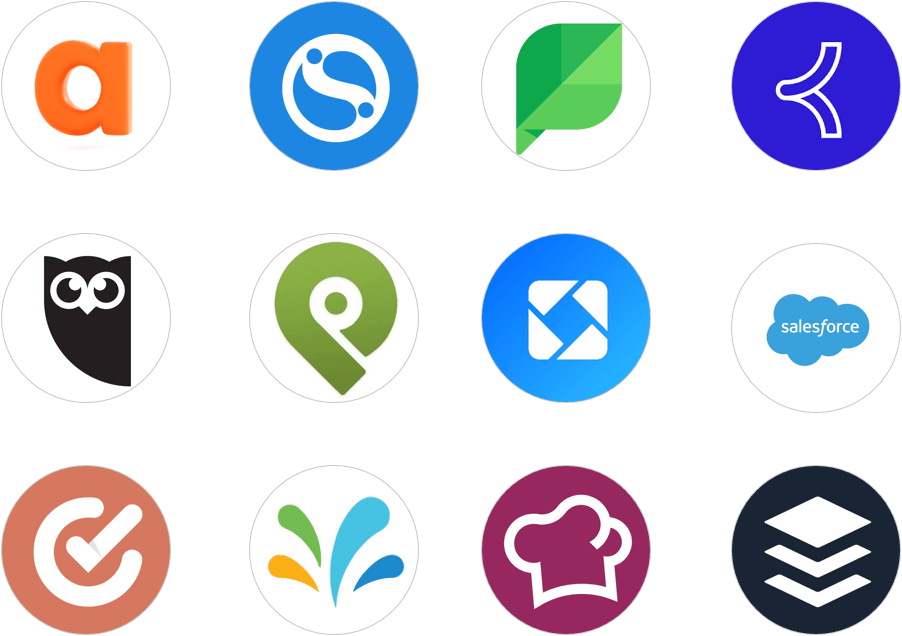 social media management tool logos including Agorapulse Buffer CoSchedule Hootsuite Iconosquare Khoros (formerly Spredfast) PostPlanner SalesForce Social Studio Sendible Socialbakers Sprinklr and Sprout Social