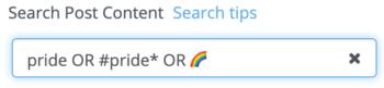 Search criteria for Pride posts