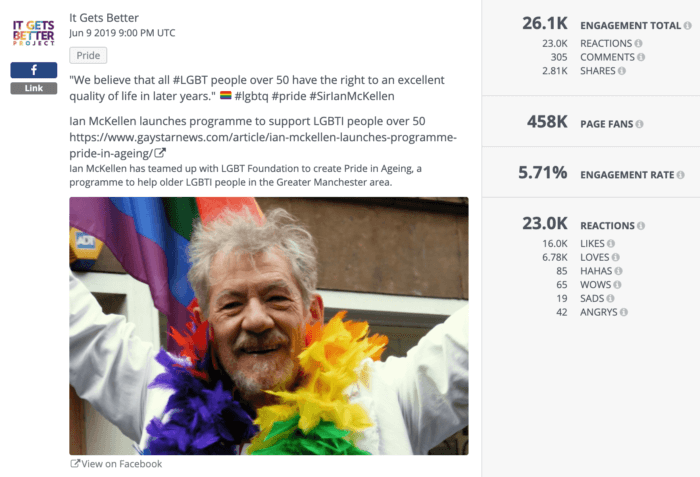 Post from It Gets Better featuring an announcement from Ian McKellan