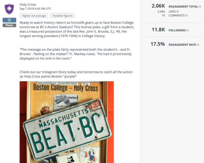 "Holy Cross' higher ed social media post features a license plate that reads ""BEAT BC"""