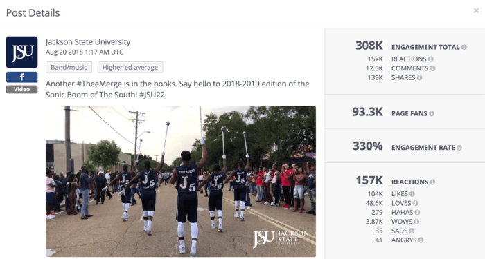 Facebook post rom Jackson State University featuring their Sonic Boom marching band.
