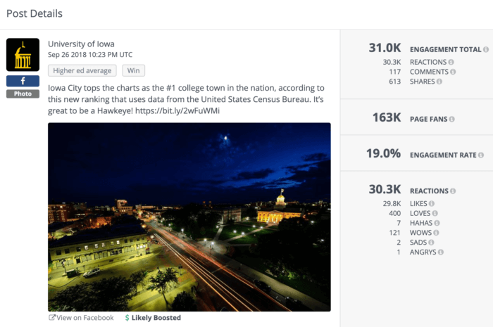 University of Iowa's higher ed social media post about being named the #1 college town in the nation.