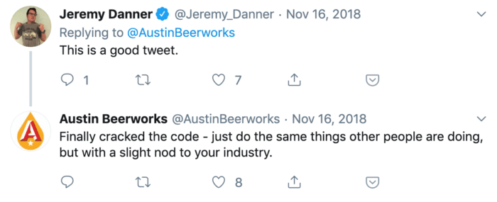 Twitter reply from Austin Beerworks to a complimentary tweet from a fan.